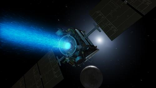 An artists inpression of DAWN's ion propulsion thrusting into orbit around Ceres