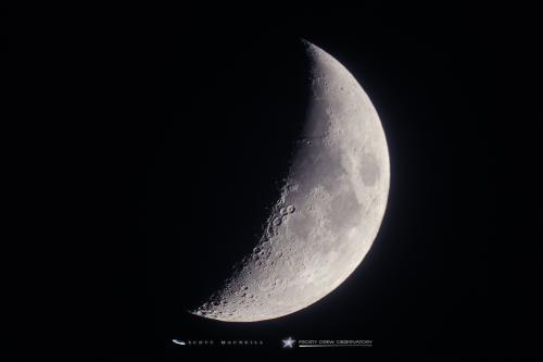 The 38% waxing crescent Moon, captured at Frosty Drew Observatory