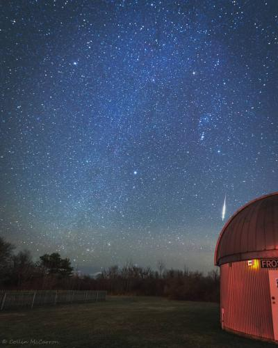 During early December 2018, <a href='https://www.instagram.com/mistadrone/' title='Collin McCarron'>Collin McCarron</a> was out at Frosty Drew Observatory capturing a stunning star trail photo of the southern sky when an intense Taurid fireball meteor ripped into view. The meteor lit up the ground and startled all in attendance. Taurid fireballs are common from September - early December yearly.