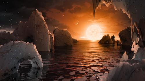 A potential view of the TRAPPIST-1 system from the surface of TRAPPIST-1f. Credit: NASA/JPL-Caltech