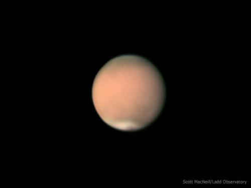 Mars covered in a planet wide dust storm on July 5, 2018. Image credit: Scott MacNeill / Ladd Observatory