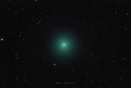 On December 7, 2018, Comet 46P/Wirtanen became naked eye visible at Frosty Drew Observatory. The comet's coma (green atmosphere around the comet) has grown to the size of the Full Moon in the sky. We captured this image of Comet 46P on Friday, December 7, 2018 during our Stargazing Nights event at Frosty Drew Observatory. On Sunday, December 16, 2018, Comet Wirtanen will make the closest pass to Earth of any comet this century. This comet will be on display at Frosty Drew Observatory on Friday nights from now through January 2019. Image Credit: Scott MacNeill