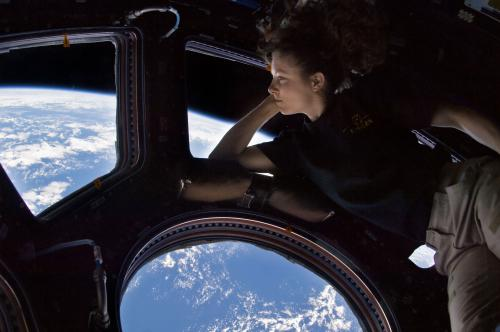 Tracy Caldwell-Dyson viewing Earth from the International Space Station.