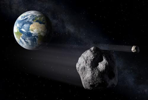 An artists impression of Near Earth Asteroid pass. Credit: ESA/P.Carril