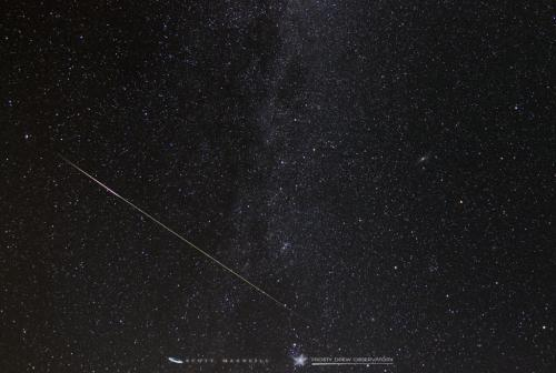Rogue meteor captured during the Perseids at Frosty Drew Observatory.