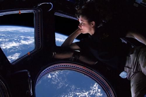 Tracy Caldwell Dyson Looking Home from the ISS Cupola