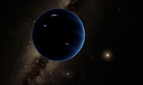 An artistic rendering of Planet Nine orbiting the Sun. Credit: Caltech/R. Hurt (IPAC)