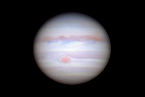 Jupiter and the Great Red Spot captured on May 8, 2018 during opposition at Ladd Observatory by Scott MacNeill.