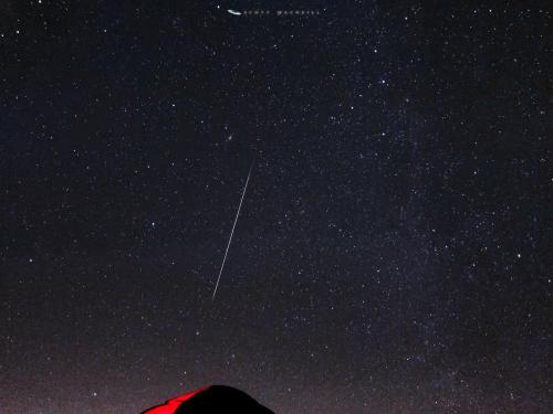A Geminid Meteor over Frosty Drew Observatory