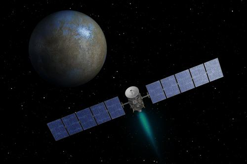 An artists impression of DAWN arriving at dwarf planet Ceres