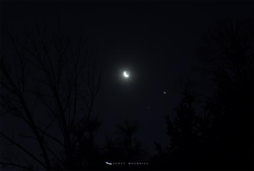Mars, Jupiter, and the Moon in conjunction.