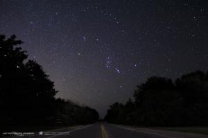 <p>I captured this photo this morning at Frosty Drew Observatory during our public stargazing session. Orion rises in the early morning hours as the coolers seasons approach. There is also a dim stray meteor blazing past Betelgeuse.</p><p>-Scott MacNeill </p>