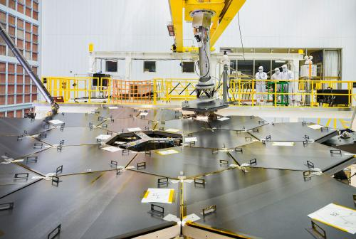 Installation of final primary mirror segment on the James Webb Space Telescope. Credit: NASA/Chris Gunn